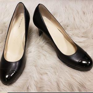 "Tahari ""Laura"" Black Mary Jane Patent Toe Heels"